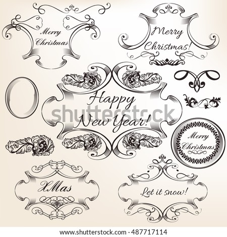 Collection of vector decorative frames and flourishes for Christmas design. Vintage style