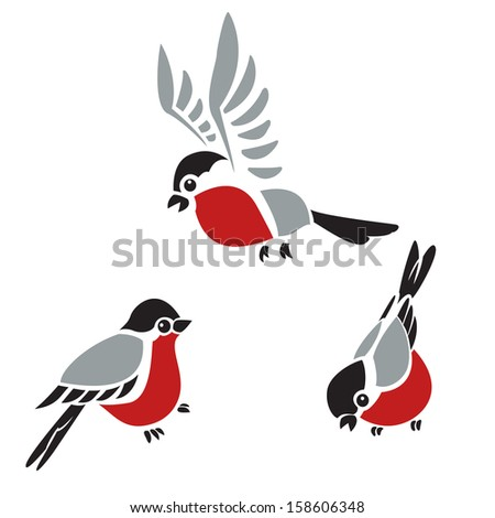 Collection of vector diffirent colorful images of Bullfinches - stock vector