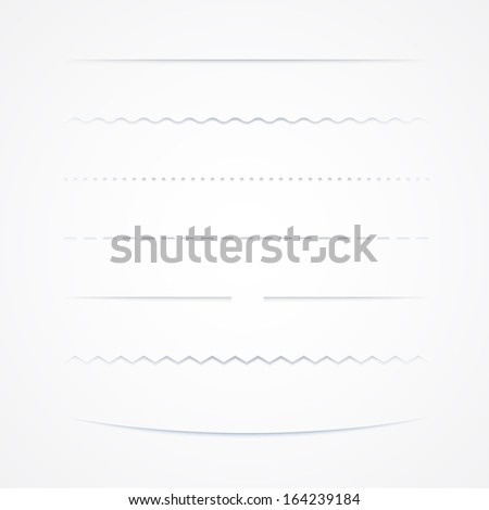 Collection Of Vector Dividers, Isolated On White Background - stock vector