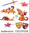 Collection of Vector Dragons - stock vector