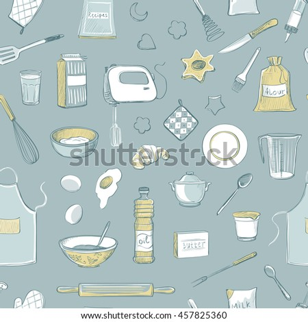 Collection of vector drawings. Kitchen utensils and ingredients for baking - stock vector