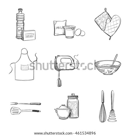 kitchen utensils drawing. Collection Of Vector Drawings. Kitchen Utensils And Ingredients For Baking Drawing 6