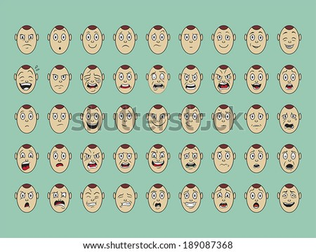 collection of vector  emotion face on paper - stock vector