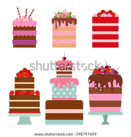 Collection Vector Flat Illustration Cake Set Stock Vector