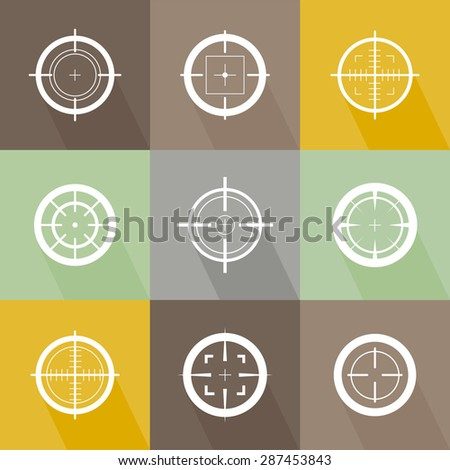 Collection of vector flat simple isolated targets. Different crosshair icons. Aiming mark templates. Shooting signs and symbols design.