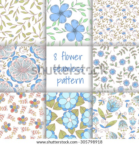 Collection of 8 vector flower seamless pattern. Cute prints.