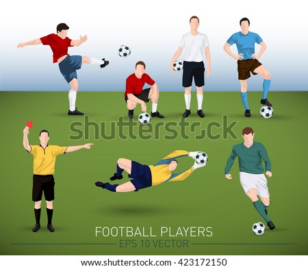 collection of vector football player silhouettes running, standing, holding ball, goalkeeper and judge - stock vector
