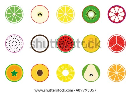 Collection of vector fruit icons.
