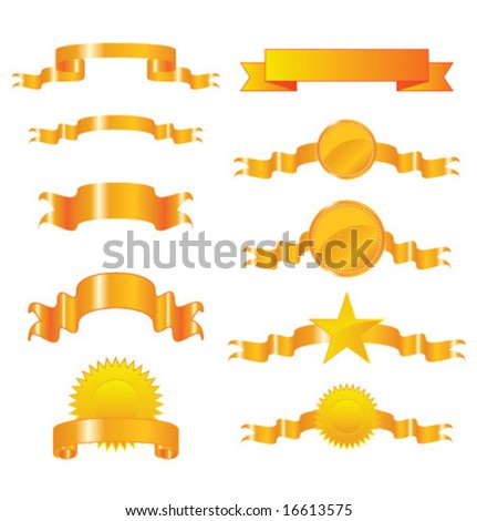 Collection of vector gold ribbons and seals - stock vector