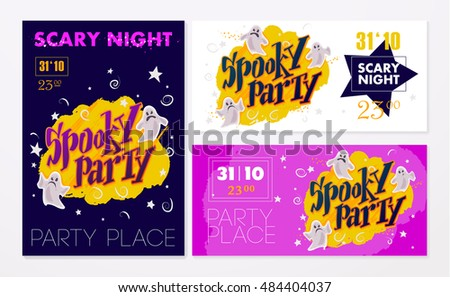 Collection of vector halloween cards. Halloween night party poster, placard, banner design set. Cartoon style. Halloween background and elements design.