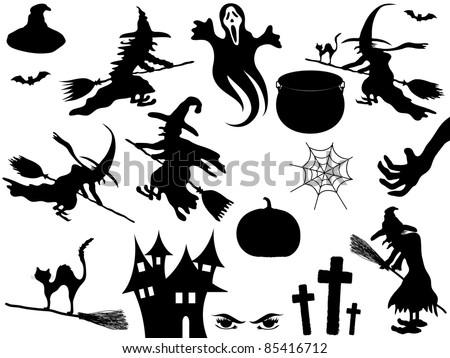 Collection of vector Halloween elements - stock vector