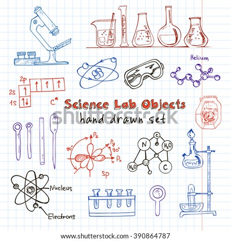 Collection of  Vector hand drawn doodle science lab objects. Back to School. Vector illustration. Useful for gift cards, packaging, design and interior decorating.