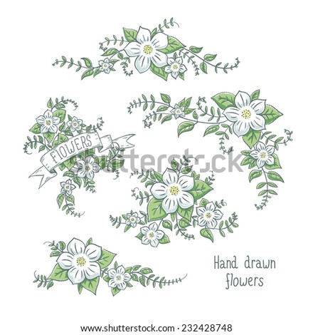 Collection of vector hand drawn white flowers compositions isolated on white. - stock vector