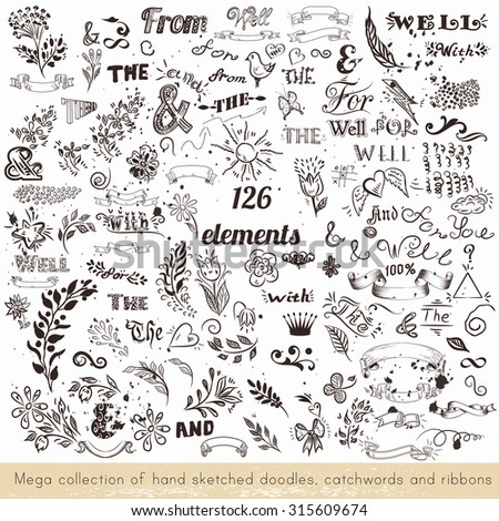 Collection of vector hand sketched doodles, catchwords and ribbons - stock vector