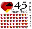 collection 1 of vector hearts with the flags of countries - stock vector