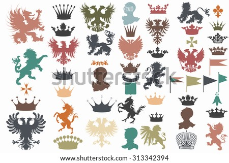 Collection of vector heraldic shapes lions, eagles, unicorns, griffins, crowns, fleur de lis perfect for heraldic projects - stock vector