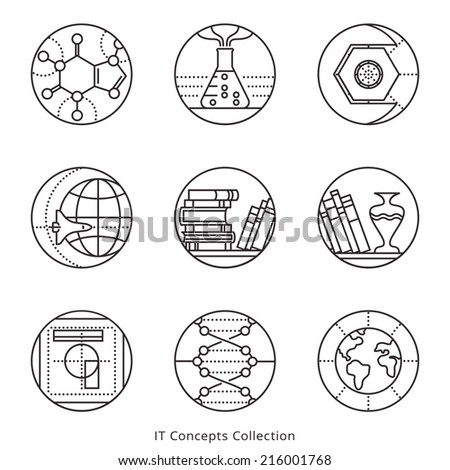Collection of vector icons,  representing different information technology concepts, such as data visualization, strategy, growth, research, branding, communication. Logo templates. - stock vector