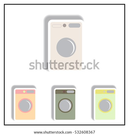 Collection of Vector illustration in paper sticker style washing machine
