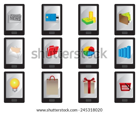 Collection of vector illustration of wireless smart mobile phone with business icons displayed on screen isolated on white. - stock vector