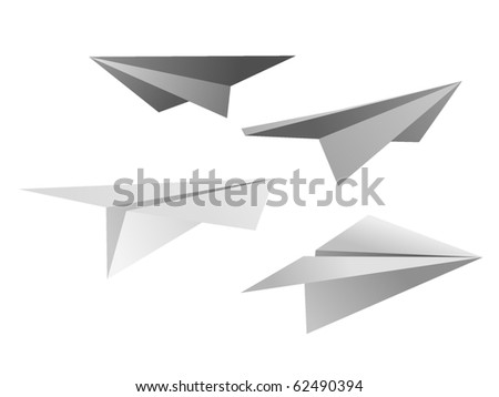 collection of vector images of paper airplanes - stock vector