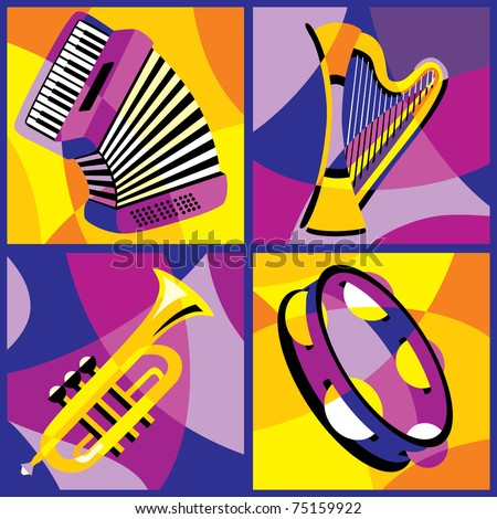 collection of vector images of various musical instruments - stock vector