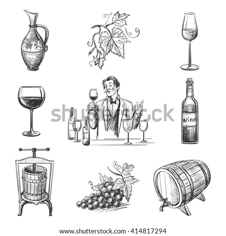 Collection of vector images on the theme of wine, isolated objects on a white background - stock vector
