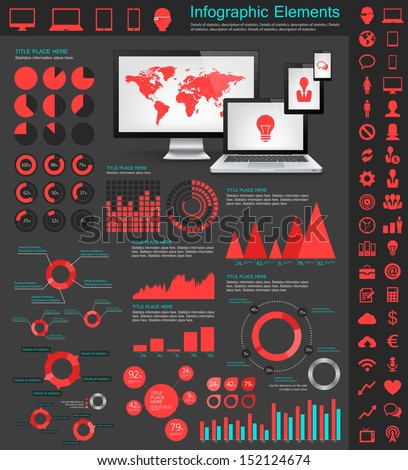 Collection of vector  infographic elements. Electronic gadgets vector illustration with various of infographic elements as charts, diagrams and infographic map for data visualization. - stock vector
