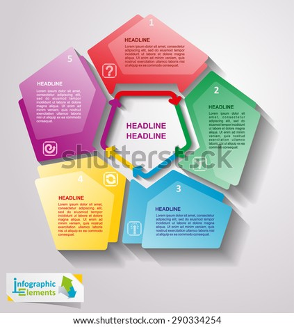 Collection of vector infographics elements. Templates for text, graph, presentation. Concept with options, parts, steps or processes. - stock vector
