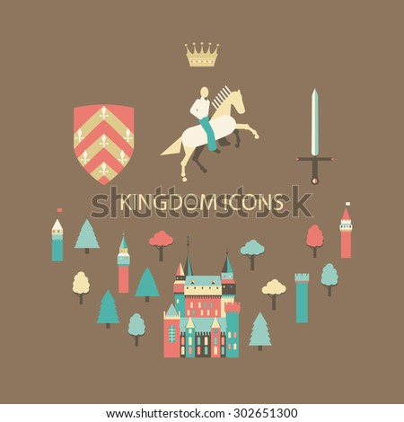 Collection of vector kingdom patterns. Set of flat style vector fairy tale fantasy kingdom icon templates. Cavalier man icon surrounded by forest. castles and armor. - stock vector