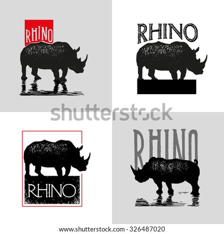 Collection of vector logo with rhinoceros. - stock vector