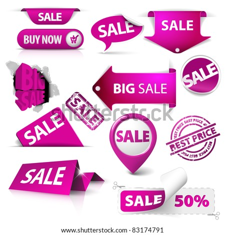 Collection of vector purple sale tickets, labels, stamps, stickers, corners, tags on white background - stock vector