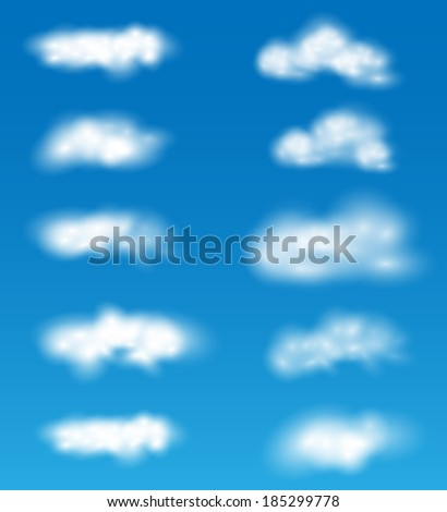 collection of vector realistic clouds on blue background - stock vector