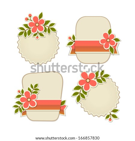 Collection of vector retro stylish badges with flowers - stock vector