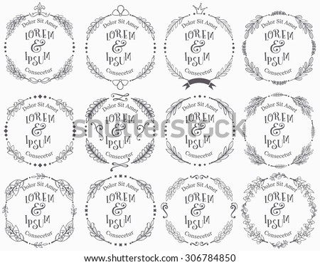 Collection of vector round floral handdrawn frames. - stock vector