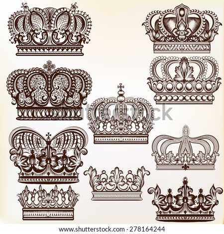 Collection of vector royal crowns for design - stock vector