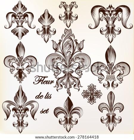 Collection of vector royal fleur de lis for design - stock vector