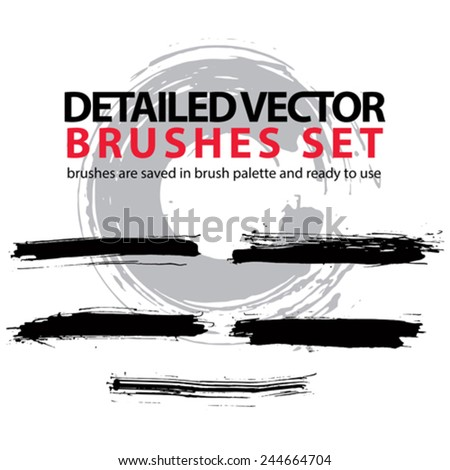 Collection of vector scanned and traced black brush strokes, torn hand-drawn realistic strokes. - stock vector