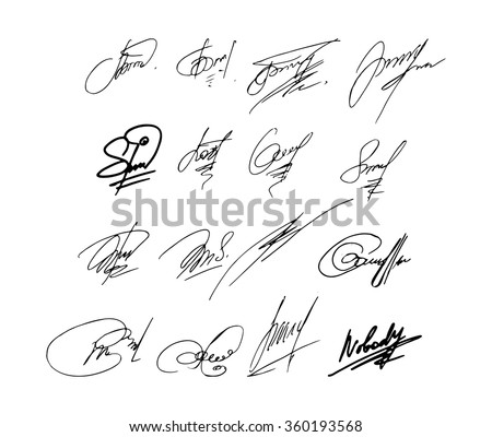 Collection of vector signatures fictitious Autograph. Vector illustration - stock vector