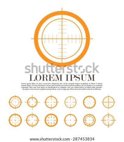 Collection of vector simple flat targets isolated on white background. Different crosshair icons. Aim gun, bullet scope templates. Shooting marks design. - stock vector