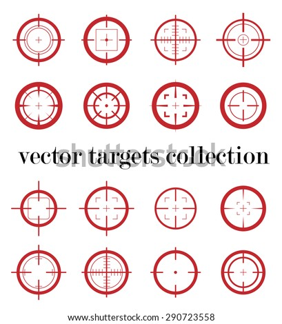 Collection of vector simple targets isolated on white background. Different crosshair icons. Aiming sign templates. Shooting and sniper marks design. - stock vector
