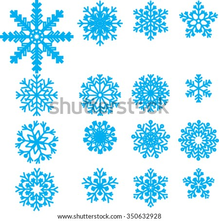 collection of vector snowflakes, blue snowflakes, blue snowflakes on a white background, collection of different blue snowflakes on white background - stock vector