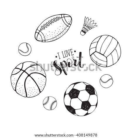 Collection of vector sport ball. Soccer, volleyball, basketball balls outlines collection. Hand drawn balls isolated on white background. I love sport text. - stock vector