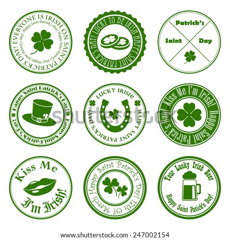 collection of vector st. patrick's logos - stock vector