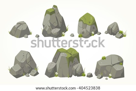 Collection of vector stone illustrations drawn in the same style - stock vector