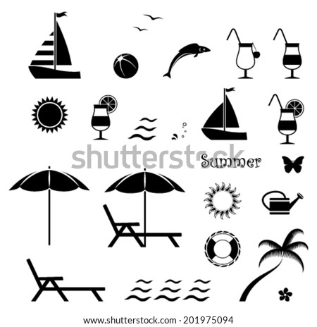 collection of vector summer icons isolated on white background - stock vector