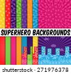 Collection of 16 Vector Superhero Themed Backgrounds - stock vector