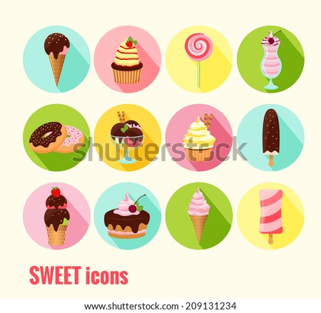 Collection of vector sweet icons with ice cream  cupcakes  cakes  doughnuts  sundae  milkshake and ice lolly with chocolate  cherry and icing toppings on round colored buttons - stock vector