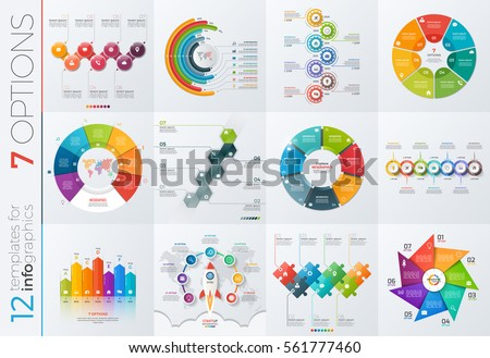 Collection of 12 vector templates for infographics with 7 options for presentations, advertising, layouts, annual reports