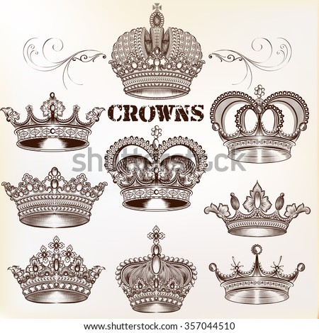 Collection of  vector vintage crown design elements in engraved style - stock vector