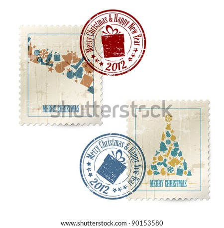 Collection of vector vintage postage stamps with postmarks